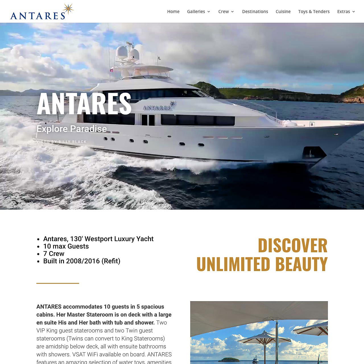 Antares Yacht website by GraphicAlchemyOnline.com