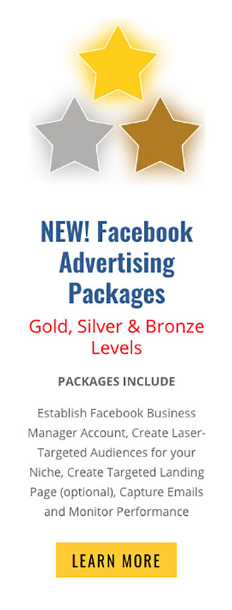an image representing the gold, silver and bronze pricing specials for facebook advertising done by graphic alchemy