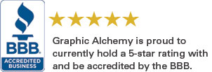 Graphic Alchemy is an accredited BBB business with a 5 star rating