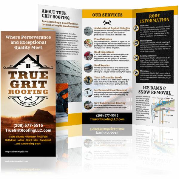 custom brochure design true grit roofing